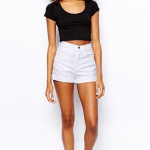 American Apparel White High Waisted Denim Shorts